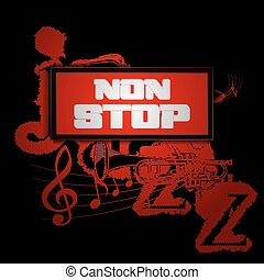 sign non-stop music with trumpet and saxophone jazz - Vector...