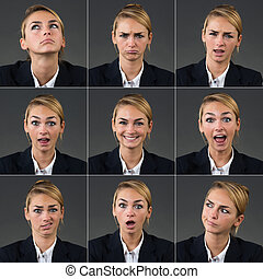 Collage Of Businesswoman With Different Expressions -...