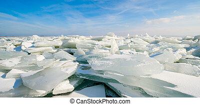shelf ice in Marken a small village near Amsterdam The...