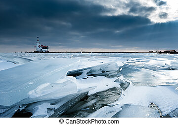 shelf ice and lighthouse in Marken a small village near...