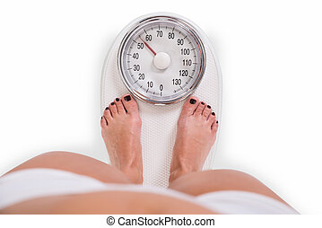Young Woman Checking Weight Over White Background - Low...