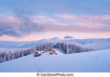 alvorada, Inverno, paisagem