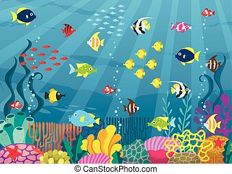 Undersea - Cartoon illustration of underwater world with...
