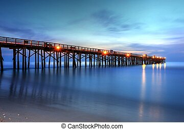 Flagler Beach Pier's Early Morning - Early morning light and...