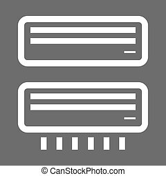 White airconditioner icons on a black background