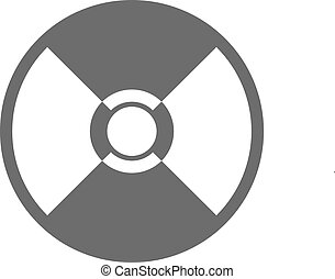 Black cd icon - Black compact disk icon on a white...
