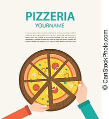 pizzeria flyer.. People having dinner together and sharing a huge pizza , hands top view