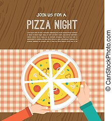 Pizza night invitation. People having dinner together and sharing a huge pizza , hands top view