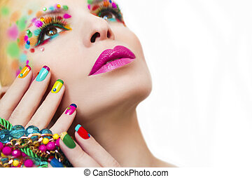 Colorful makeup and manicure. - Colorful makeup and manicure...