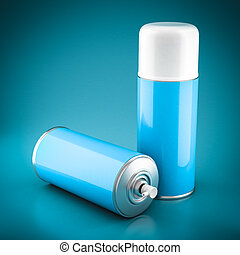 Spray paint can on a beautiful blue background