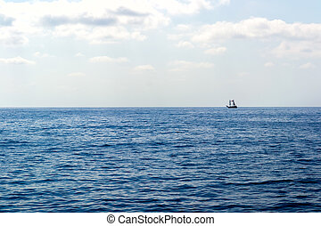 Wooden ship in the Mediterranean sea, Turkey - Wooden ship...