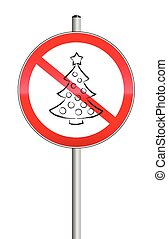 No Christmas Tree Symbol Prohibitio - Christmas tree crossed...