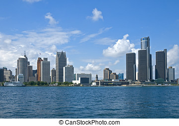 Detroit Postcard - Downtown Detroit - including the GM...