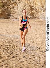 training girl athlete - The image of training girl athlete