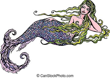 Hand drawn Illustration of a Beautiful mermaid girl isolated...