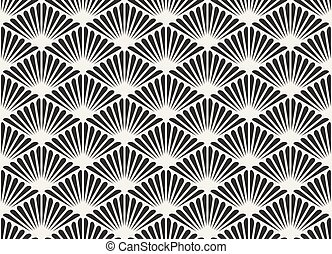 Vector Black And White Seamless Organic Floral Sunburst...