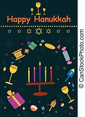 Happy Hanukkah holiday greeting background in vector