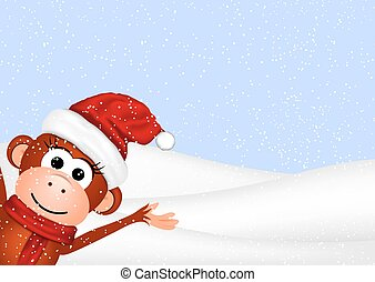 New Year greeting card with cheerful monkey in Santa hat