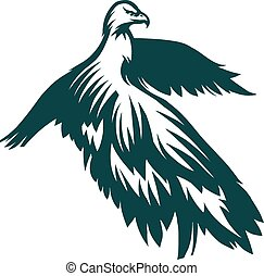 Eagle stylized symbol - Engraving stylized Eagle symbol...