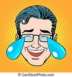 Retro Emoji tears joy man face pop art style Joke hysterical...