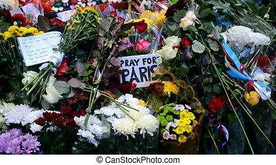 Paris memorial, candles and flowers memorable memorial set...