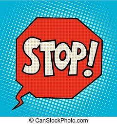 stop sign warning symbol pop art retro style