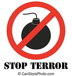 Sign with gun and symbol Stop terrorism - Sign with gun and...