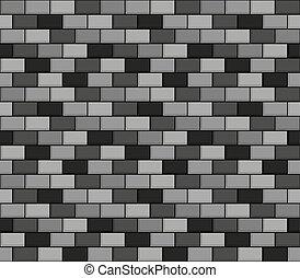 Brick wall seamless greyscale pattern - Seamless vector...