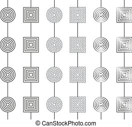 Collection of 6 simple greyscale gerland patterns seamless...