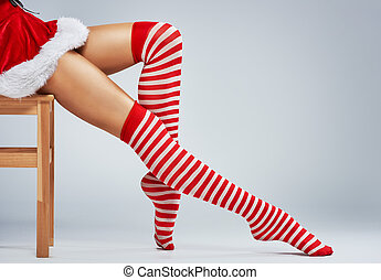 girl in Santa dress - Beautiful sexy woman in Santa Claus...