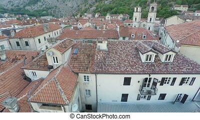 Flying over the old town of Kotor