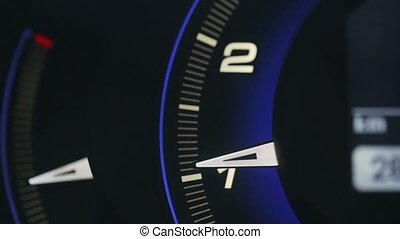 Tachometer metering video blue glowing