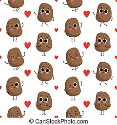 Potatoes, vector seamless pattern with cute vegetable...