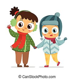 Happy vector girl and boy in winter coats isolated on white
