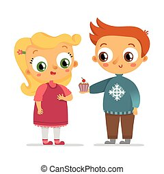 Boy and girl vector characters isolated on white