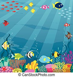 Underwater - Cartoon square banner of underwater world with...
