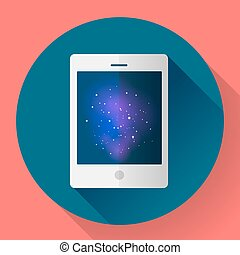 Vector tablet computer icon with space image. Flat style.