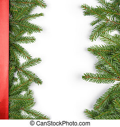 fir branches border on white background with red ribbon,...