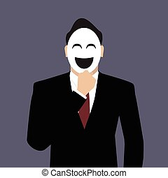 Businessman wearing a laughing mask. vector illustration
