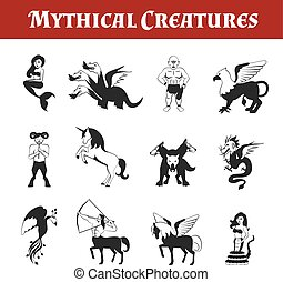 Mythical Creatures Black And White - Mythical creatures...