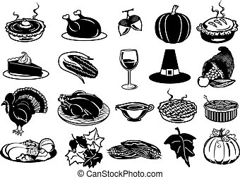 Thanksgiving Icons - Black and White Thanksgiving Icons