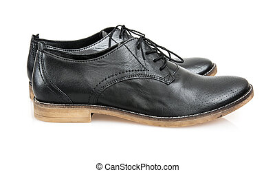 New black leather shoes for man