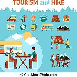 Tourism And Hike Infographics