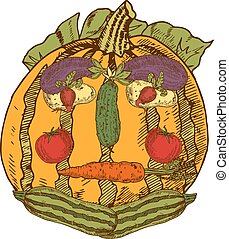 Still Life With Garden Vegetables In Human Face Shape