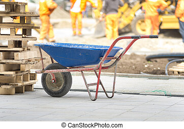 Trolley on construction site - Dirty handcart standing on...