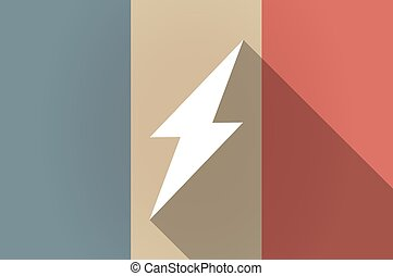 Long shadow flag of France vector icon with a lightning