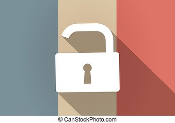 Long shadow flag of France vector icon with an open lock pad