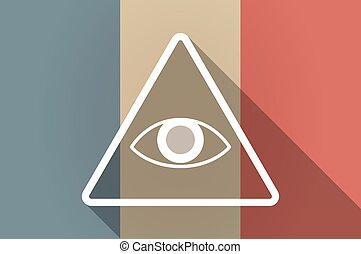 Long shadow flag of France vector icon with an all seeing eye