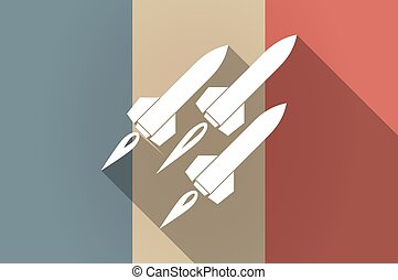 Long shadow flag of France vector icon with missiles -...