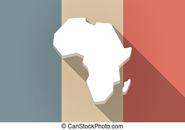 Long shadow flag of France vector icon with  a map of the african continent